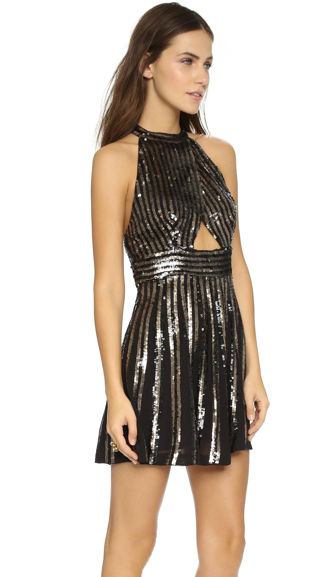 Free people Sequin Stripe Mini Dress - Black in Black - Lyst