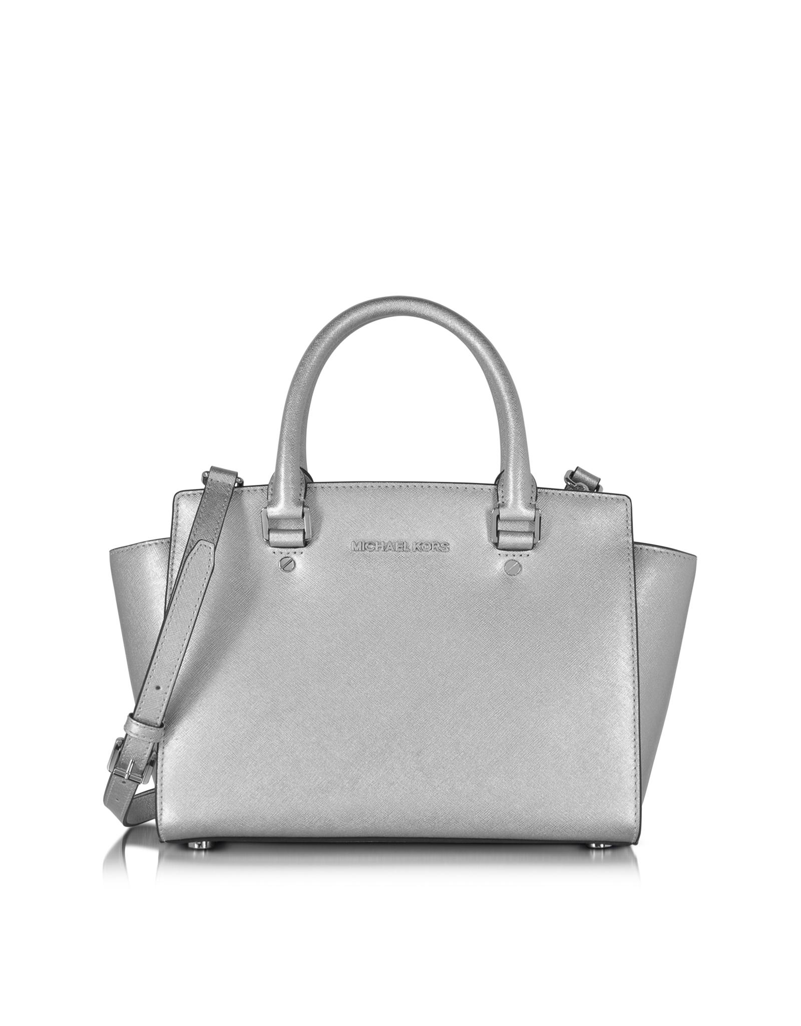 michael kors selma saffiano leather medium satchel bag in metallic rh lyst co uk