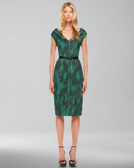 Michael Kors Printed Cady Dress in Green (emerald)