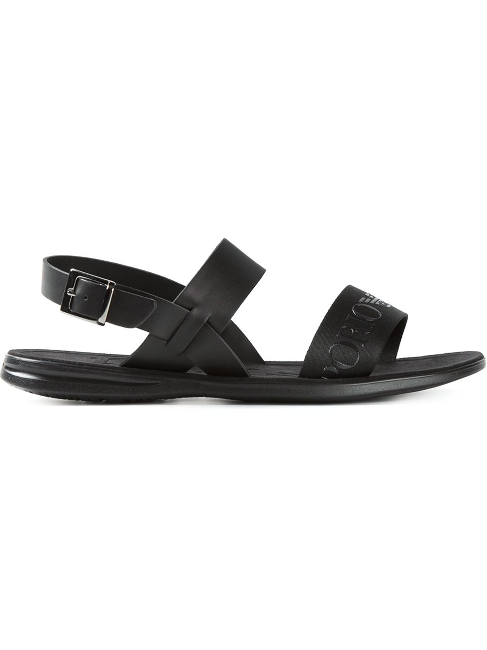 Emporio Armani Embossed Logo Strap Sandals In Black For
