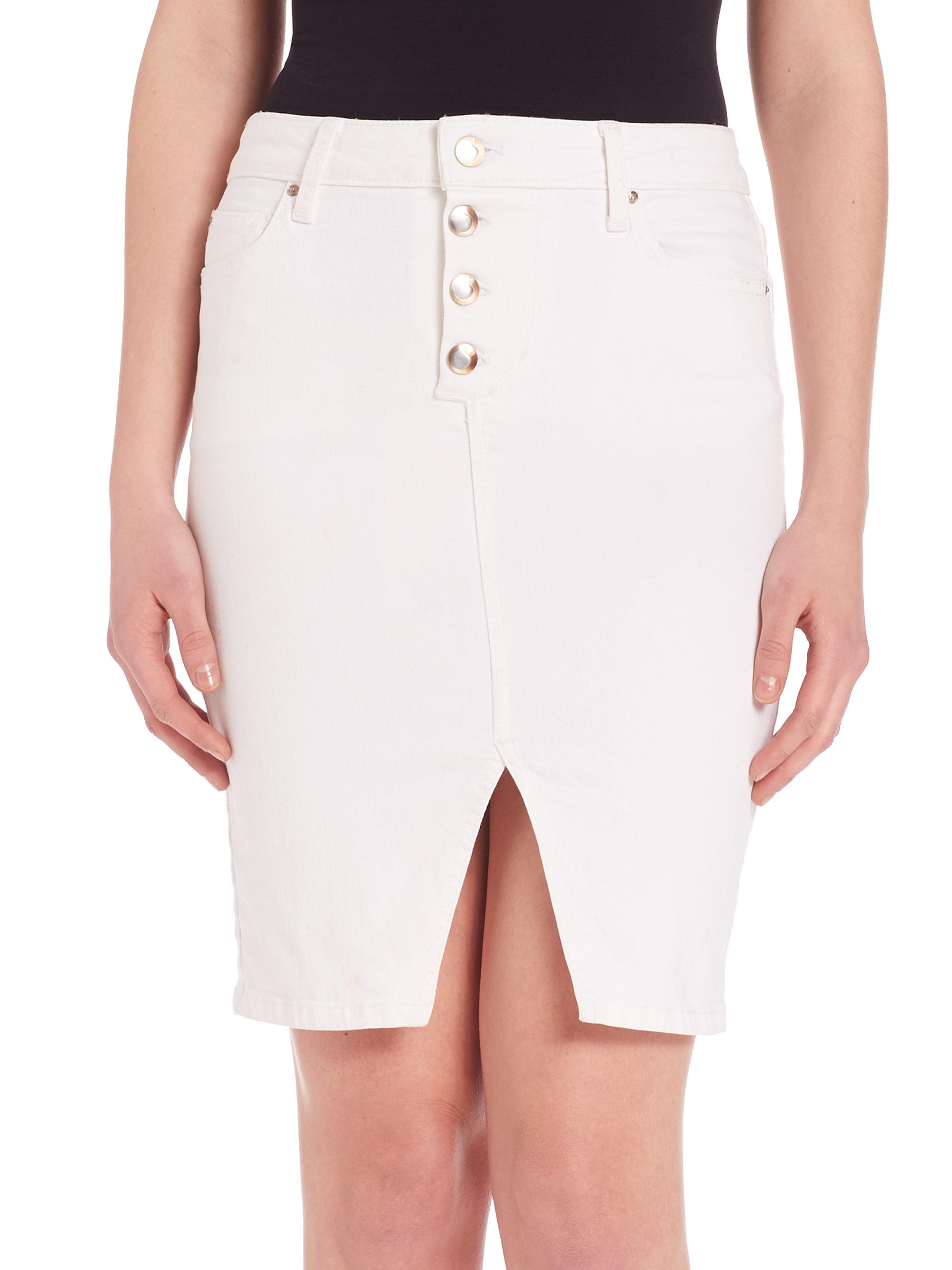 joe s button front denim skirt in white lyst