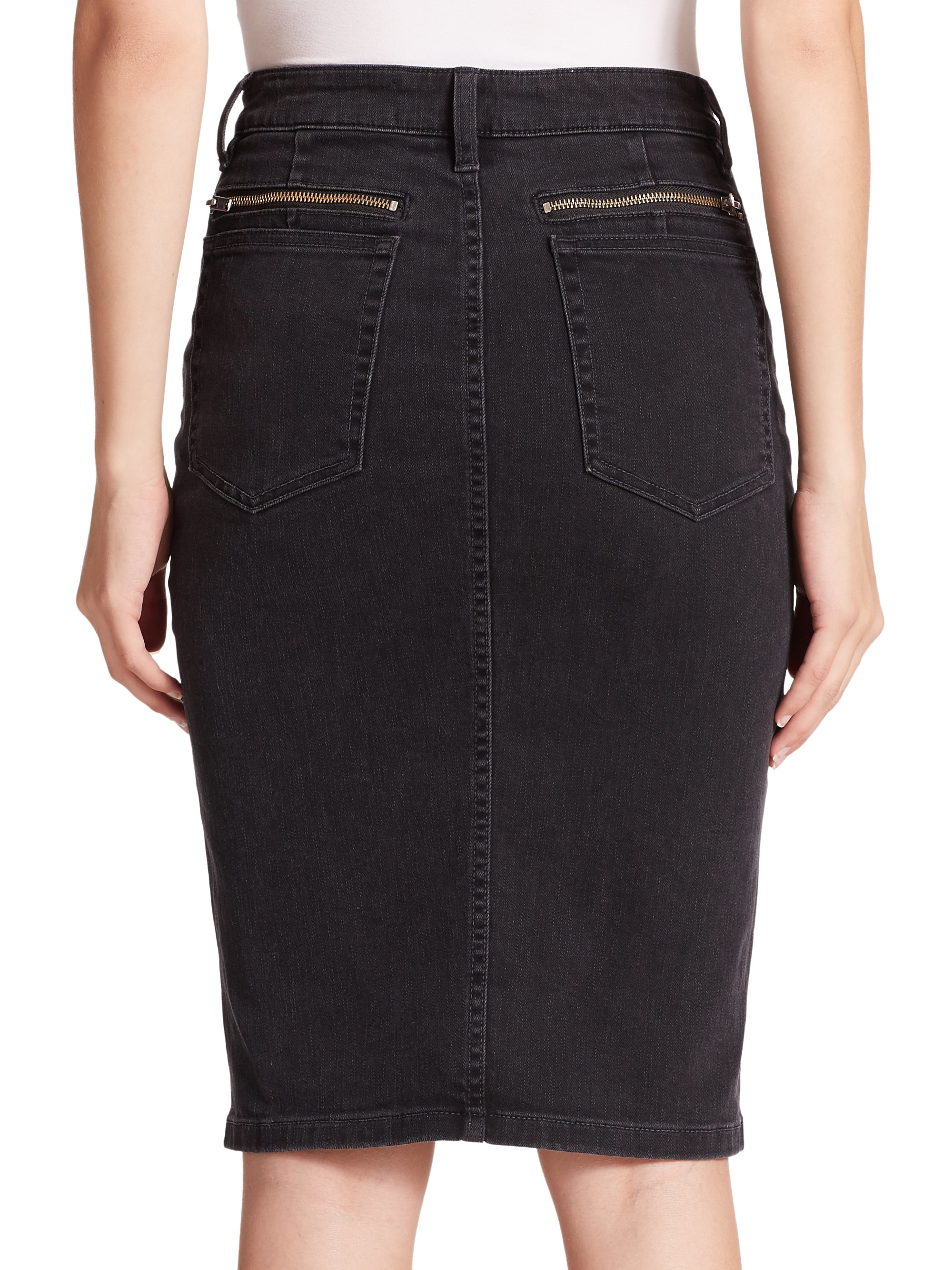 marc by marc stretch denim pencil skirt in black lyst