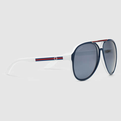 78477d9f0e Gucci Medium Aviator Sunglasses in Blue for Men