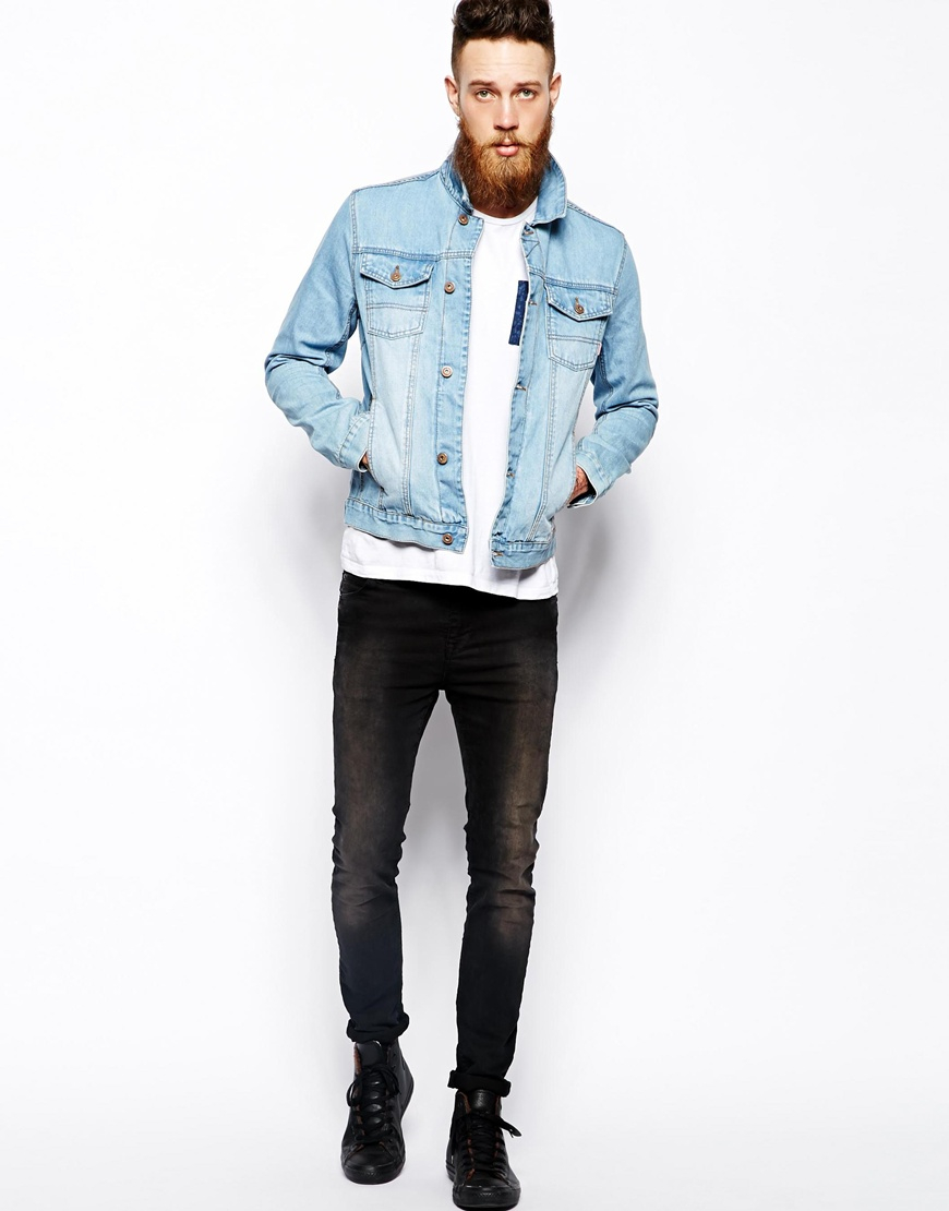 Lyst - ASOS Denim Jacket with Bleach Wash in Blue for Men 3cc45e199