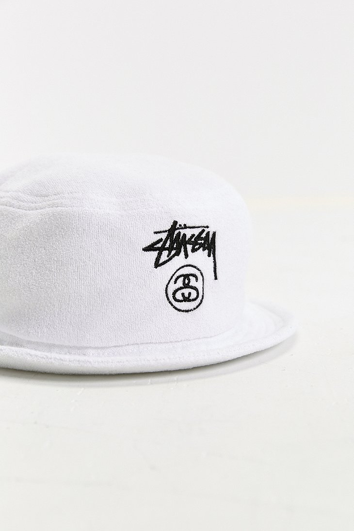 2e41aeb66ec Lyst - Stussy Terry Stock Lock Bucket Hat in White for Men