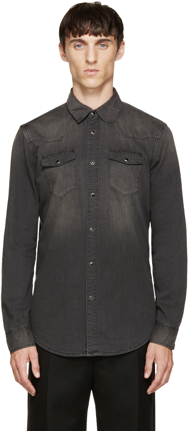 blk dnm faded black denim shirt in black for men lyst