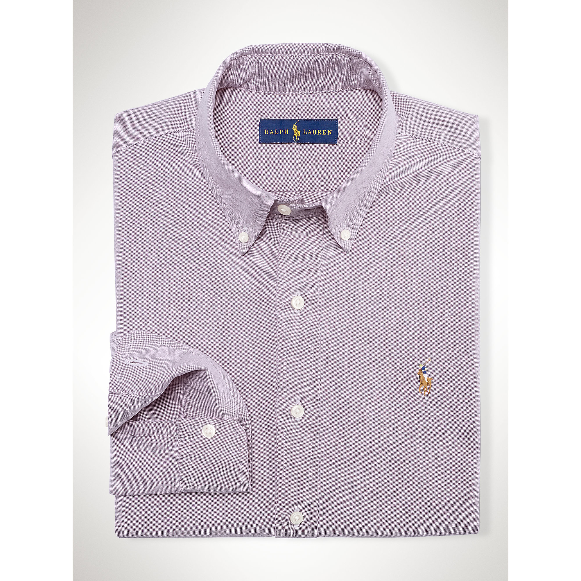 Polo ralph lauren solid oxford sport shirt in purple for for Royal purple mens dress shirts