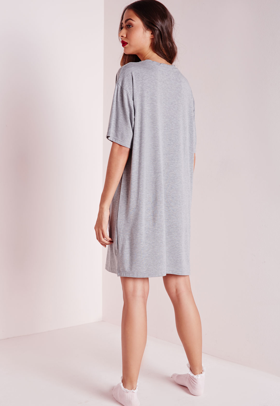 6bb987e1ff Missguided Bitches For Breakfast Sleep Shirt Grey in Gray - Lyst