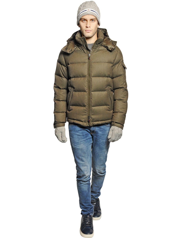 Lyst - Moncler Montgenevre Light Flannel Down Jacket in Green for Men