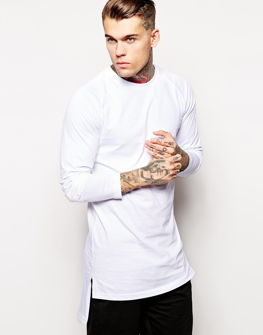 Lyst aq aq aq aq long sleeve longline t shirt in white Mens long sleeve white t shirt