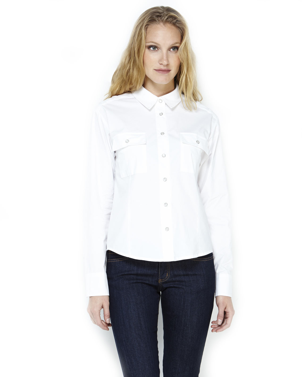 8b65418a BCBGeneration White Boxy Button-Up Shirt in White - Lyst