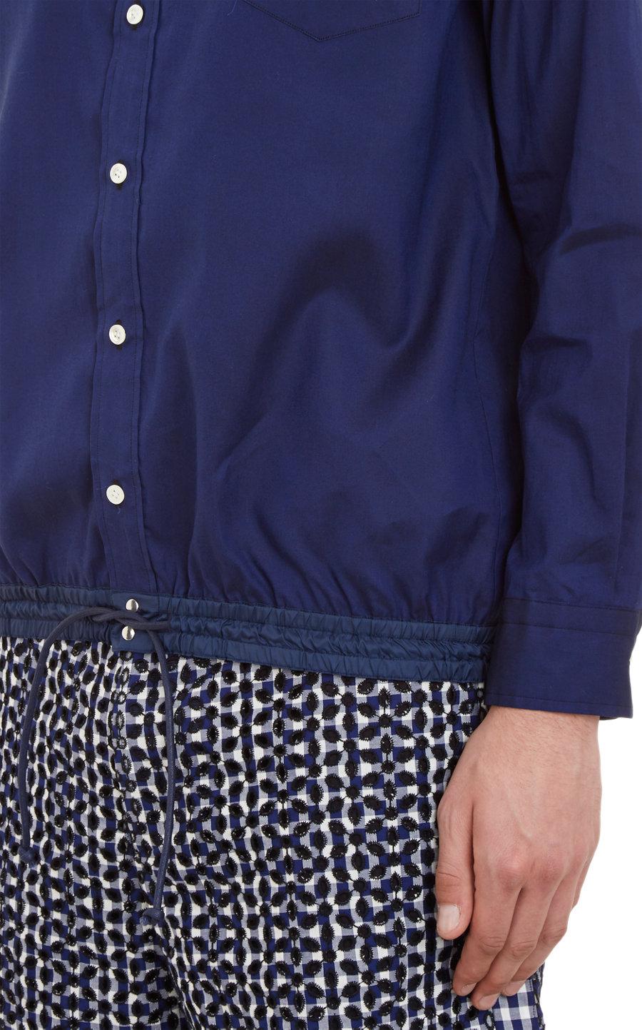 Sacai check eyelet collar shirt in blue for men lyst for Mens eyelet collar dress shirts