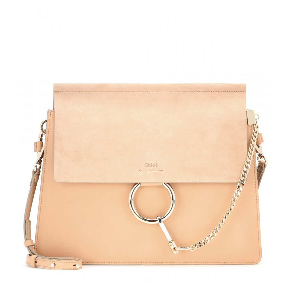 2c408bf655c4 Chloé Faye Leather   Suede Shoulder Bag in Orange