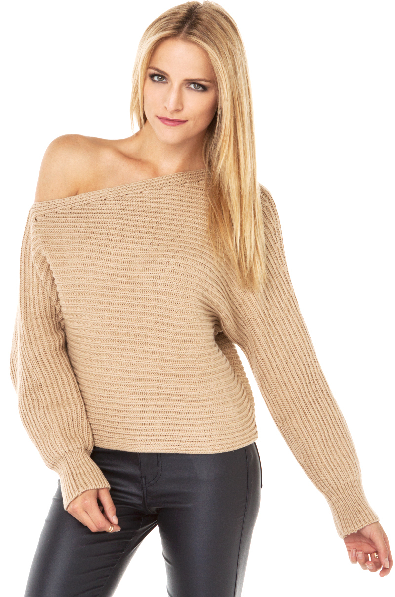 Lyst - Akira Off The Shoulder Sweater In Beige in Natural