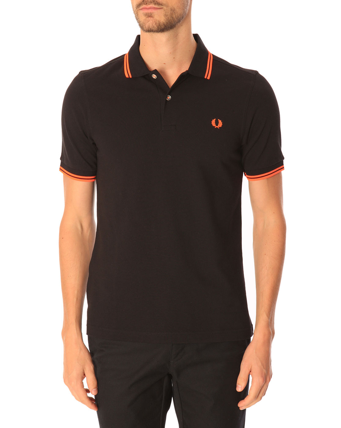 fred perry slim fit black polo shirt with contrasting neon. Black Bedroom Furniture Sets. Home Design Ideas