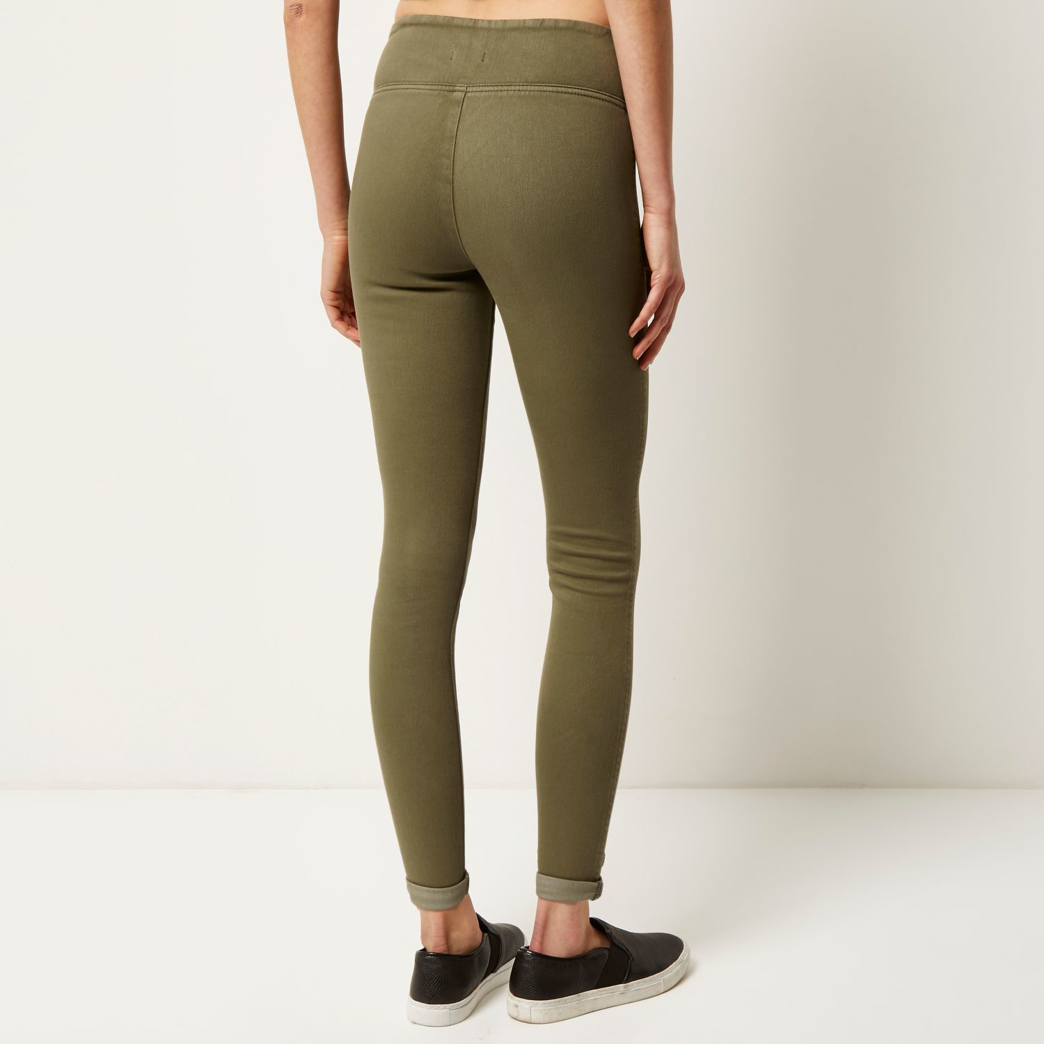 River Island Khaki Green Denim High Rise Leggings In Green