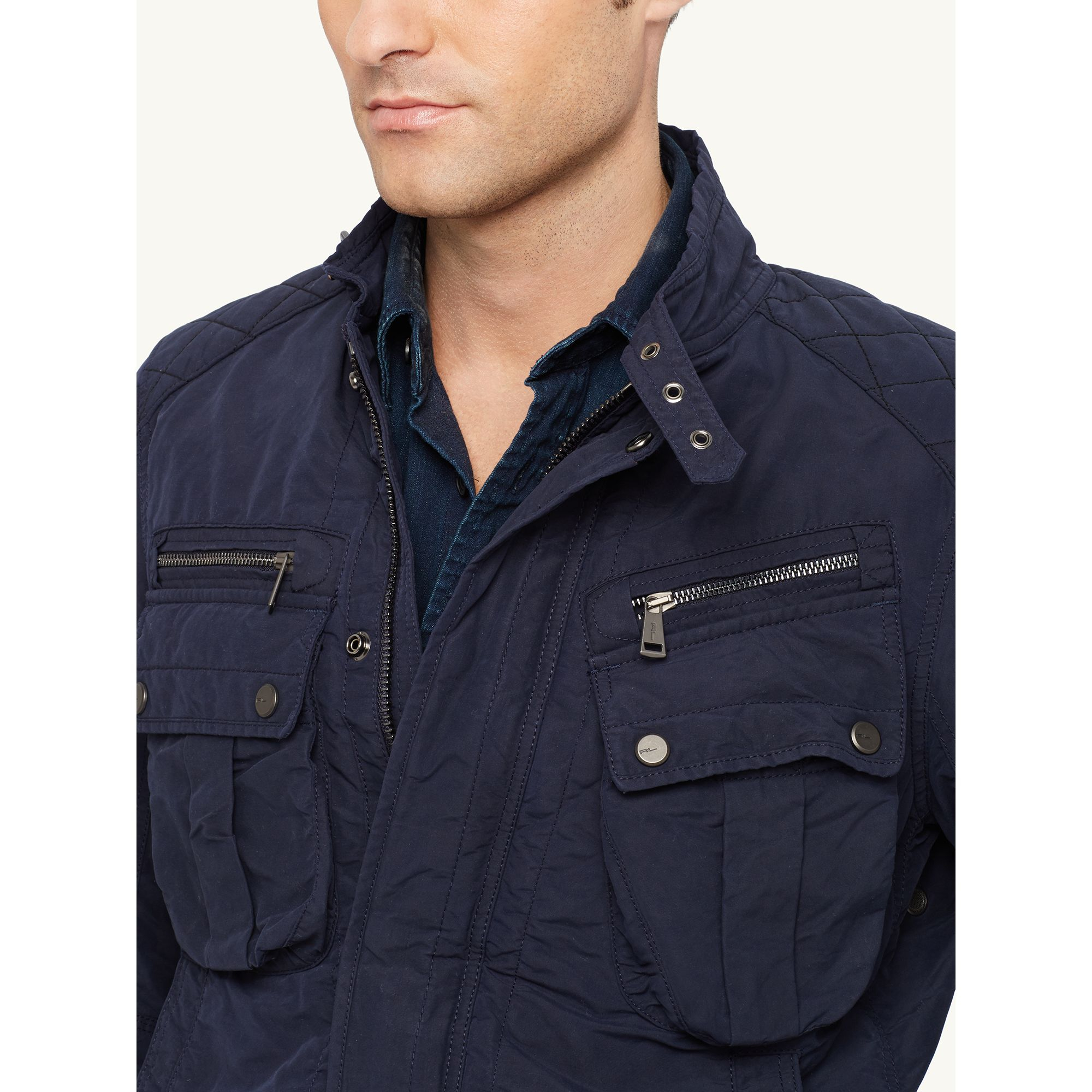 Ralph lauren black label Biker-bomber Jacket in Blue for Men | Lyst