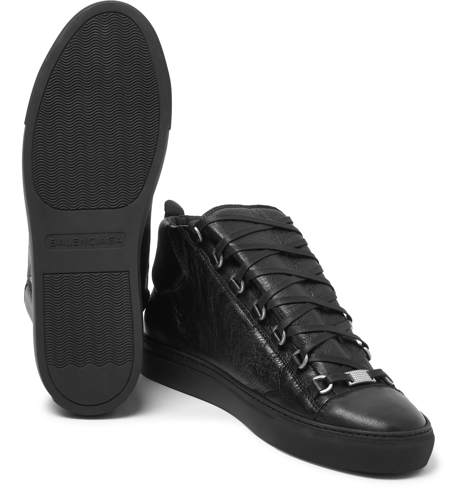 Balenciaga Arena Creased Leather Sneakers In Black For Men