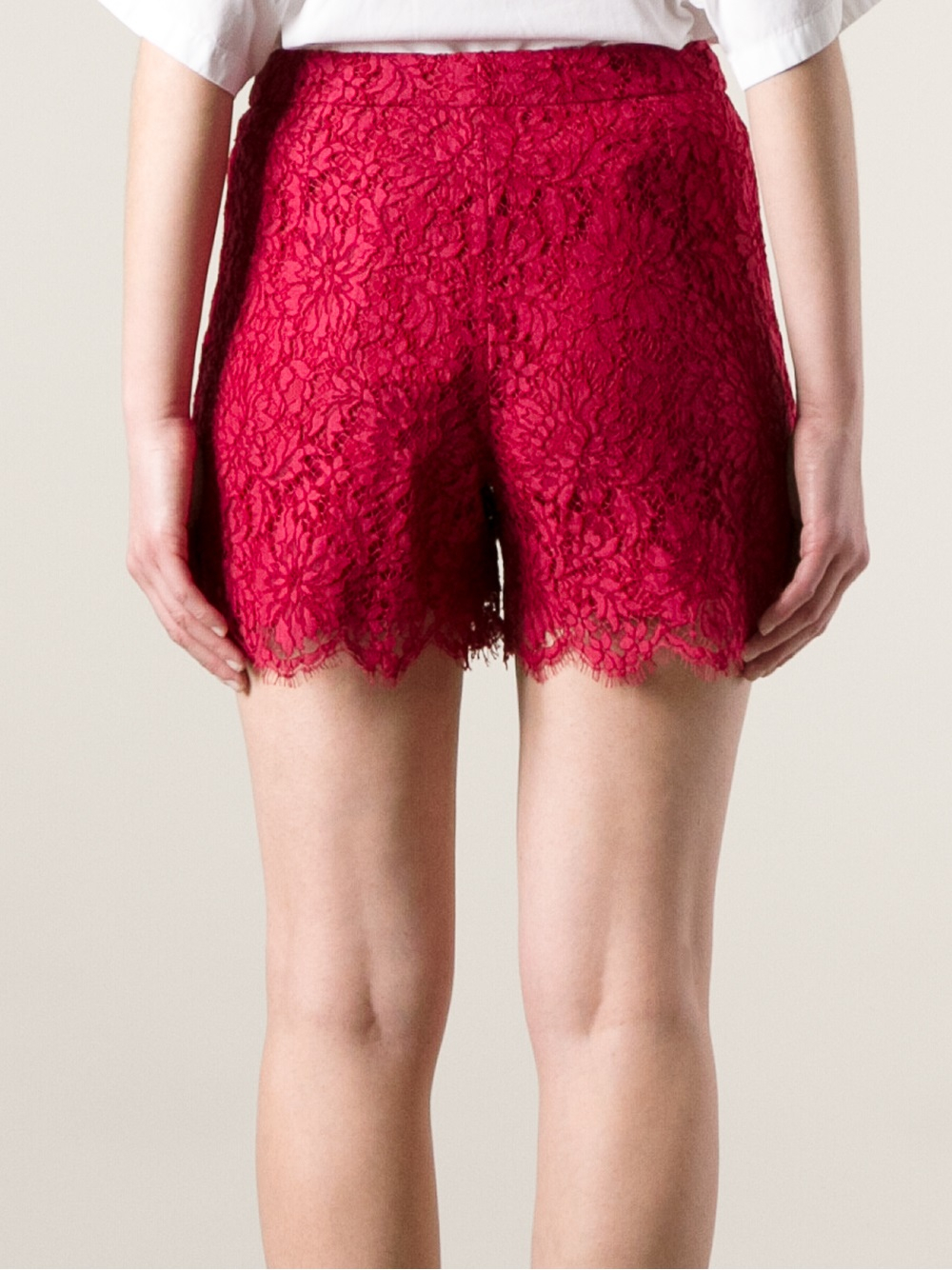 Dolce & gabbana Floral Lace Shorts in Red | Lyst