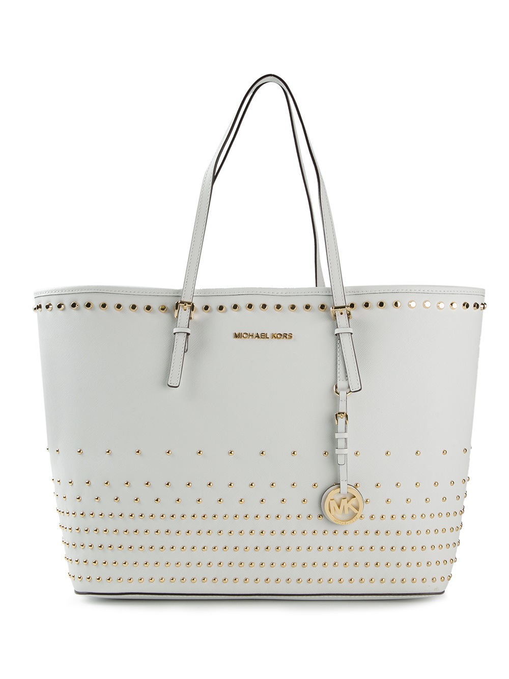 b060d8f7be38 ... where to buy michael michael kors jet set travel studded tote in white  lyst 43673 51922
