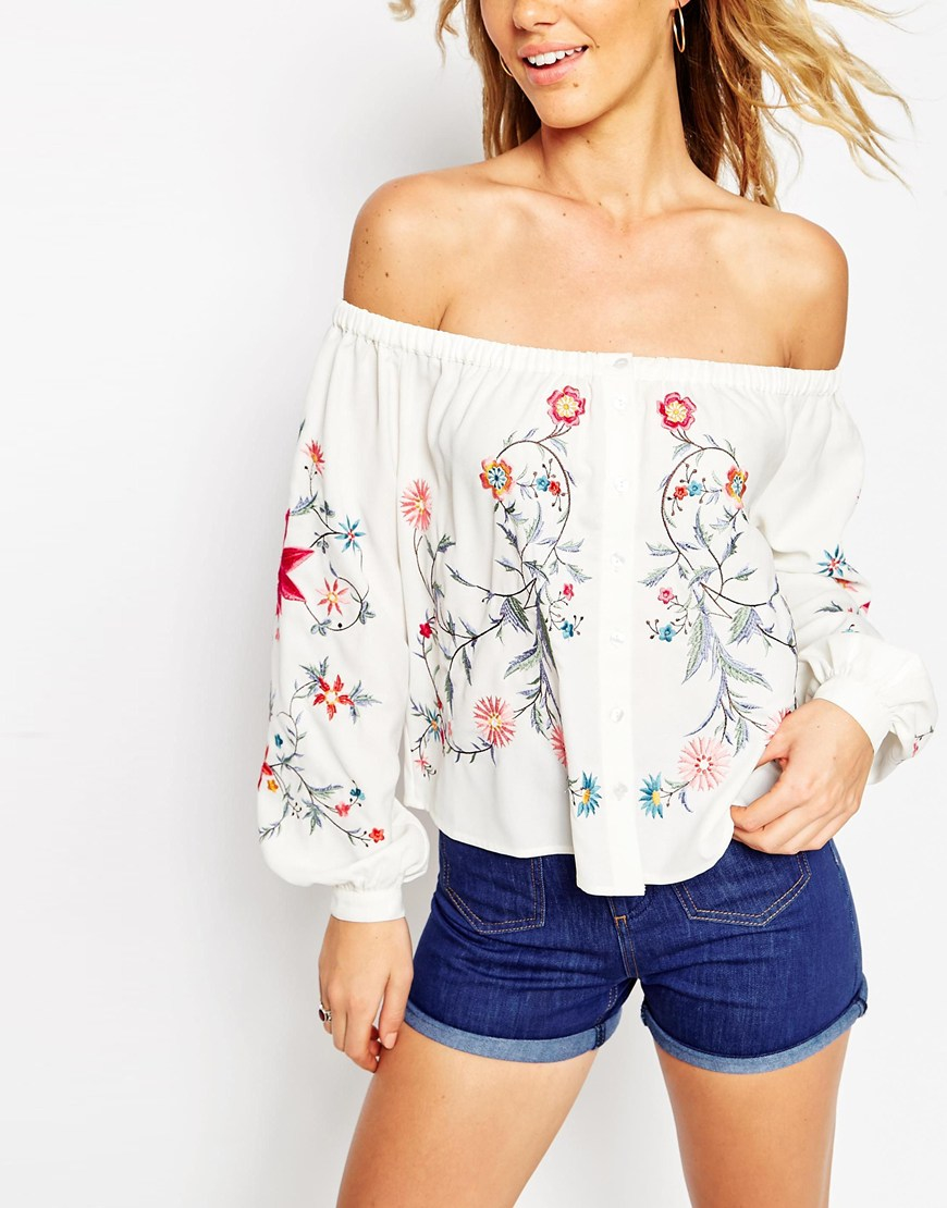 Lyst Asos Off Shoulder Top With Floral Embroidery In Natural
