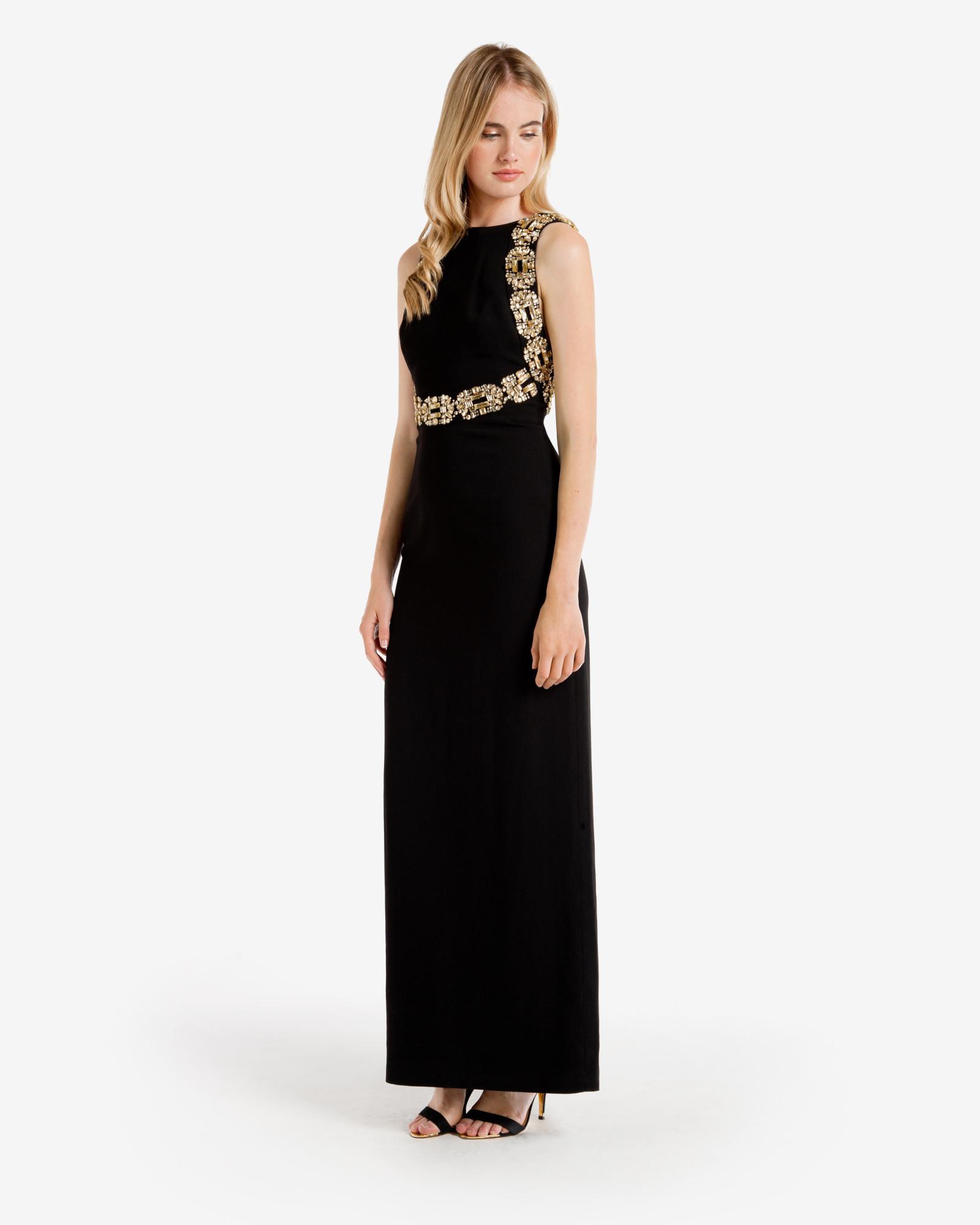 Lyst Ted Baker Embellished Open Back Maxi Dress In Black