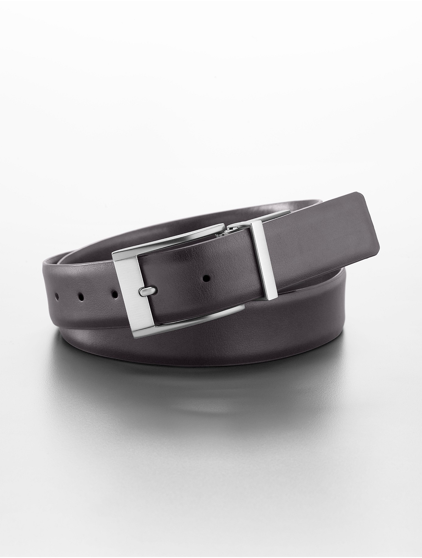 calvin klein reversible black brown leather belt in