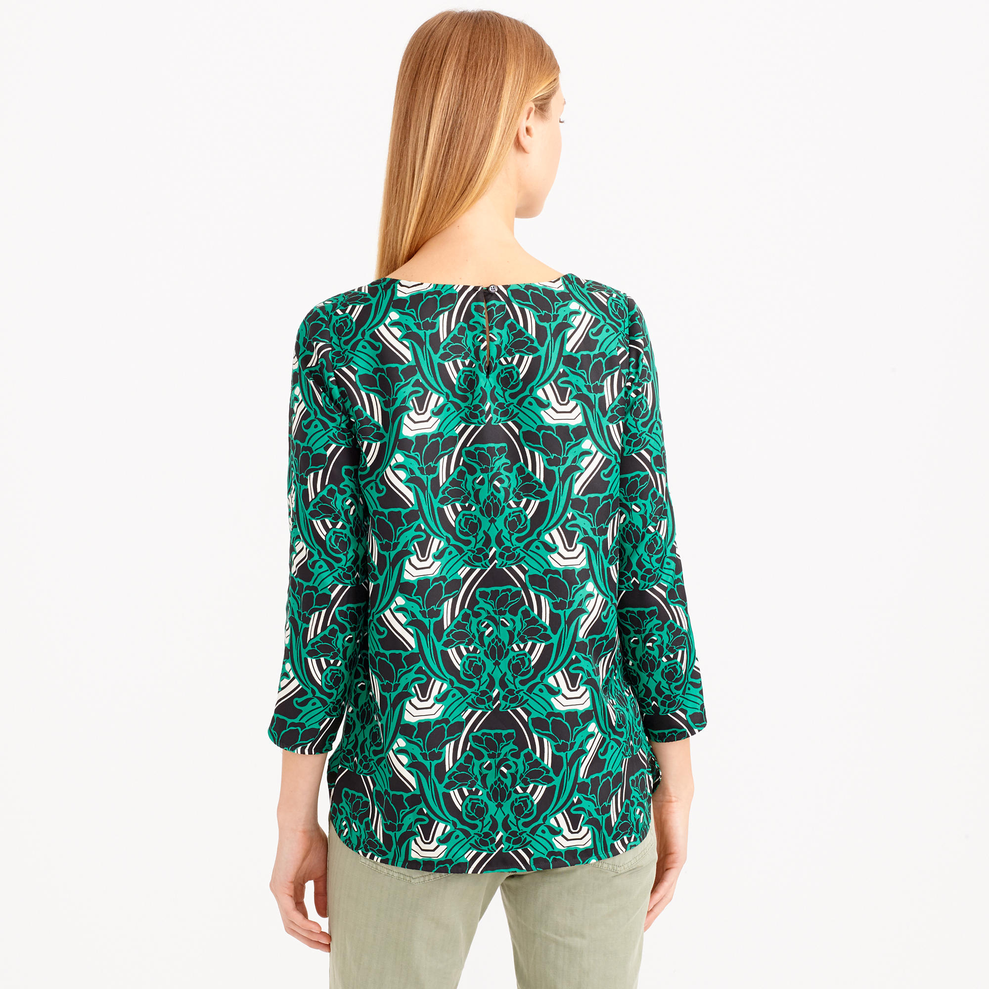 e2b4f4546be Lyst - J.Crew Retro Floral Popover Shirt in Green