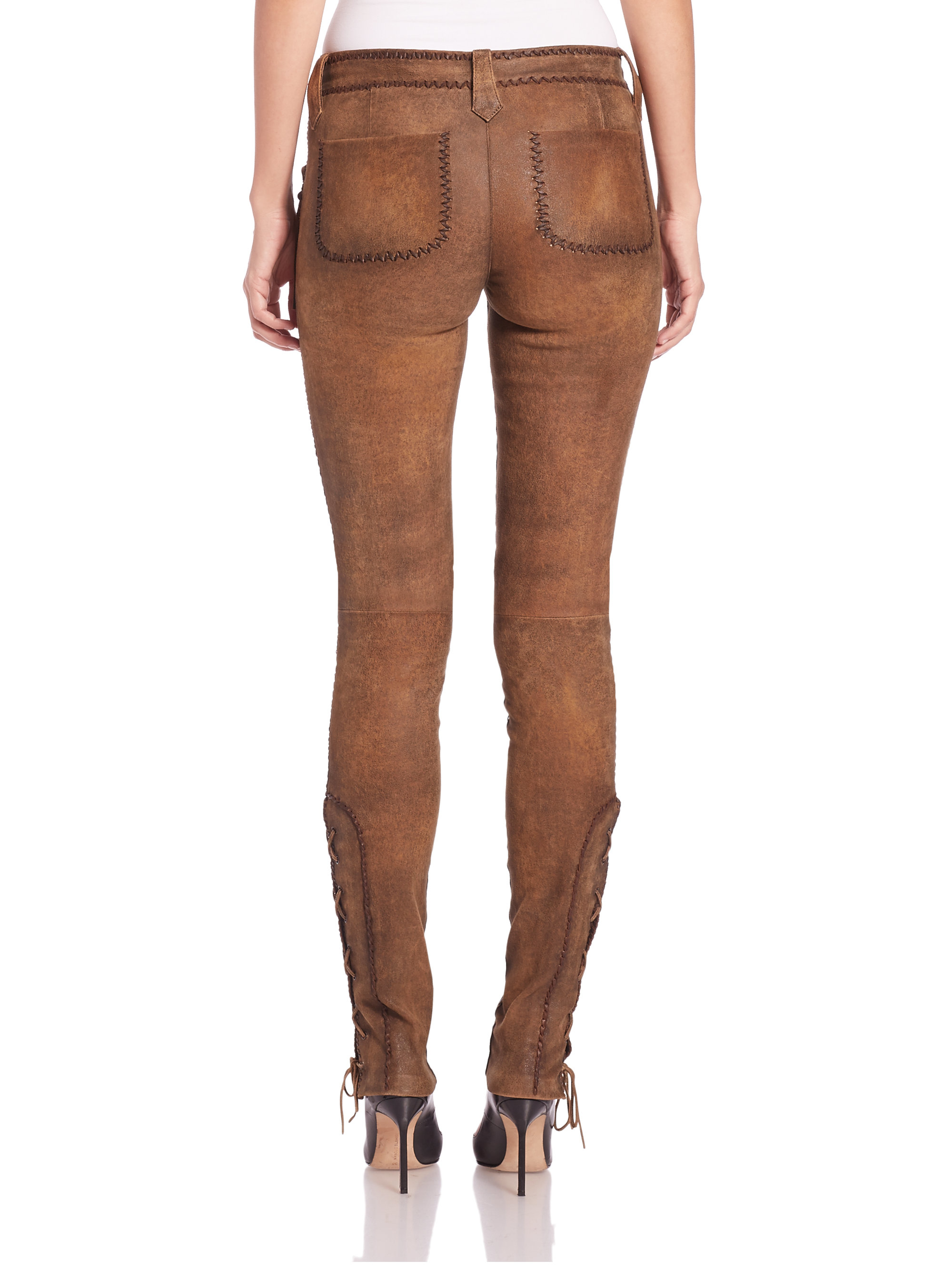 Perfect Polo Ralph Lauren Fringed Stretch Leather Pants In Brown  Lyst
