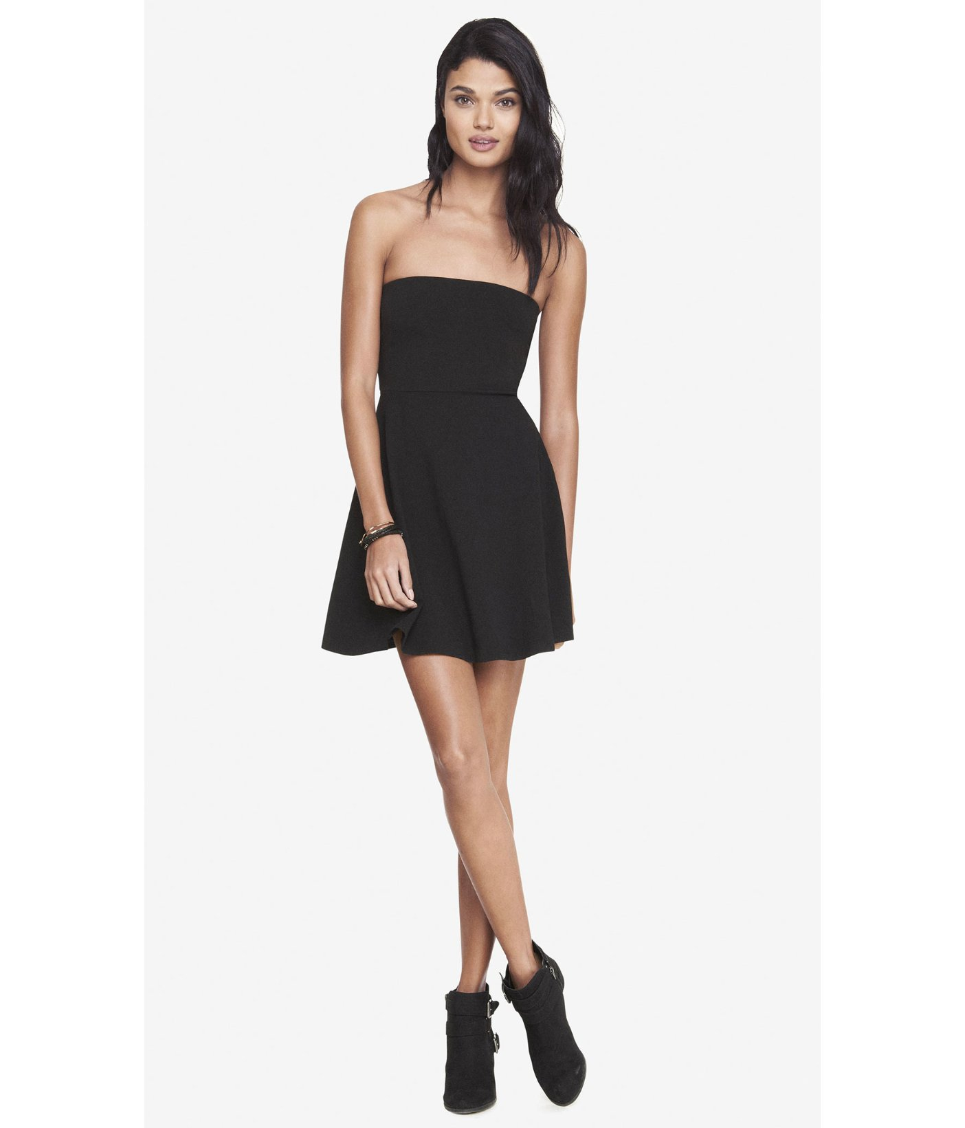 Express Black Strapless Stretch Cotton Skater Dress in Black | Lyst