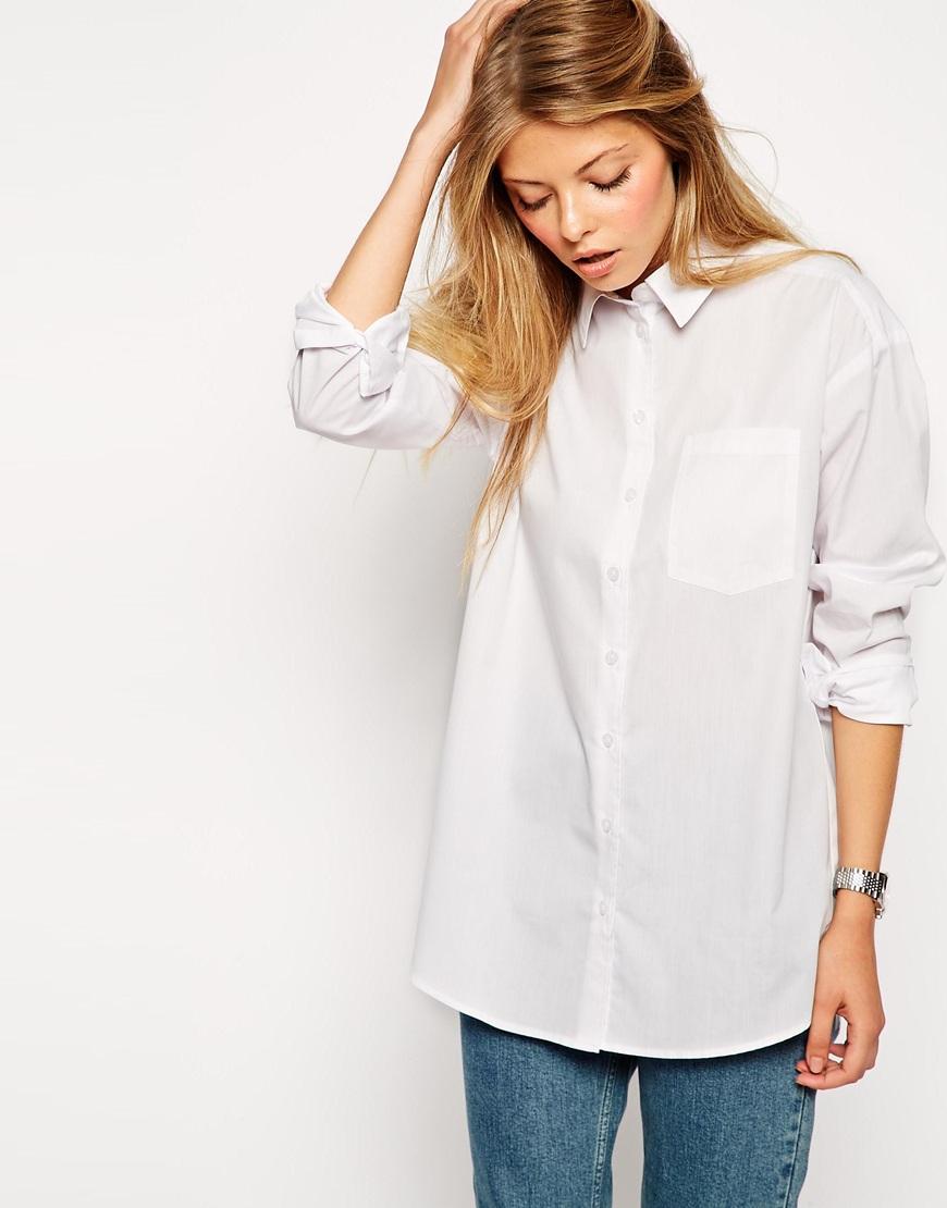 Asos petite boyfriend white shirt in white save 52 lyst - Burberry hemd damen ...