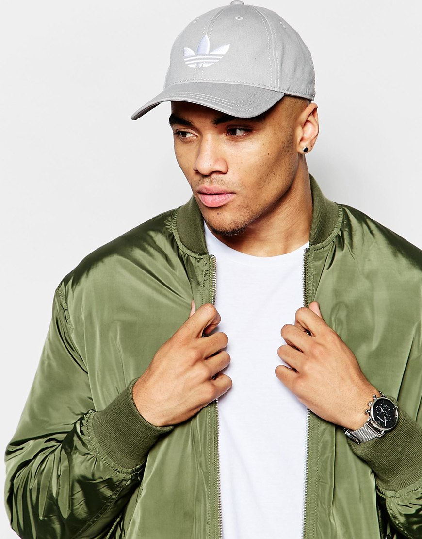 Lyst - adidas Originals Trefoil Cap In Grey in Gray for Men ac229c20f9e