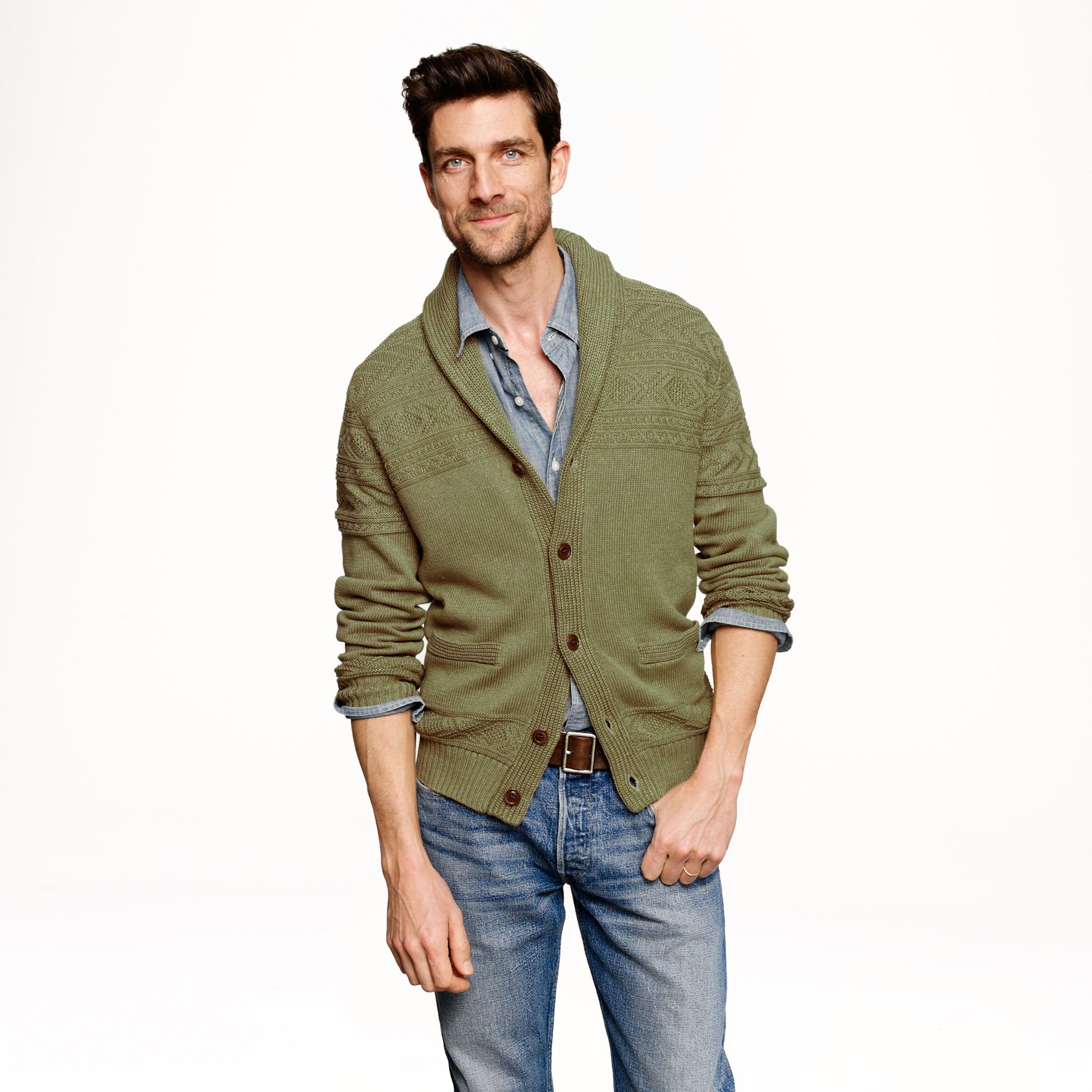 J.crew Wallace Barnes Guernsey Shawl Sweater In Green For