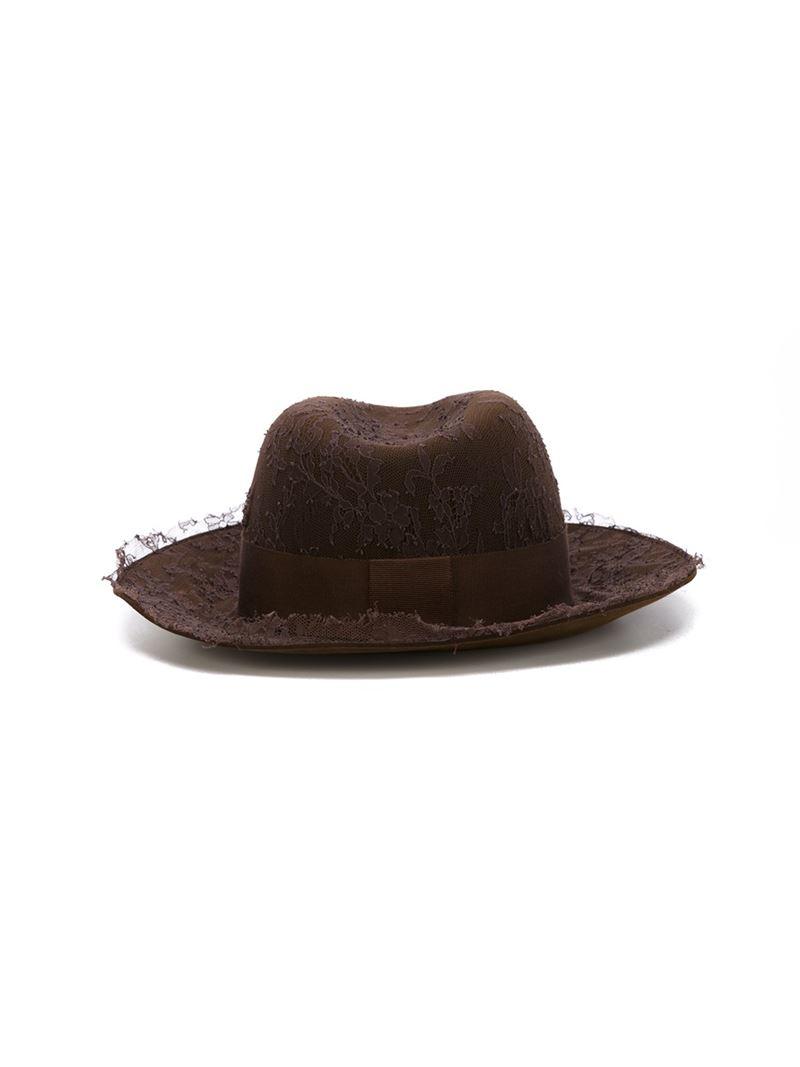 Lyst maison michel 39 henrietta 39 hat in brown for Maison michel
