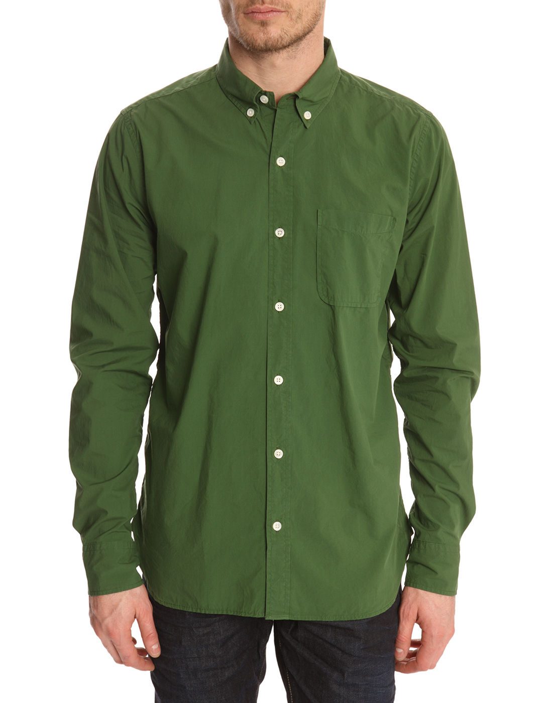 closed henry button down green shirt in green for men lyst