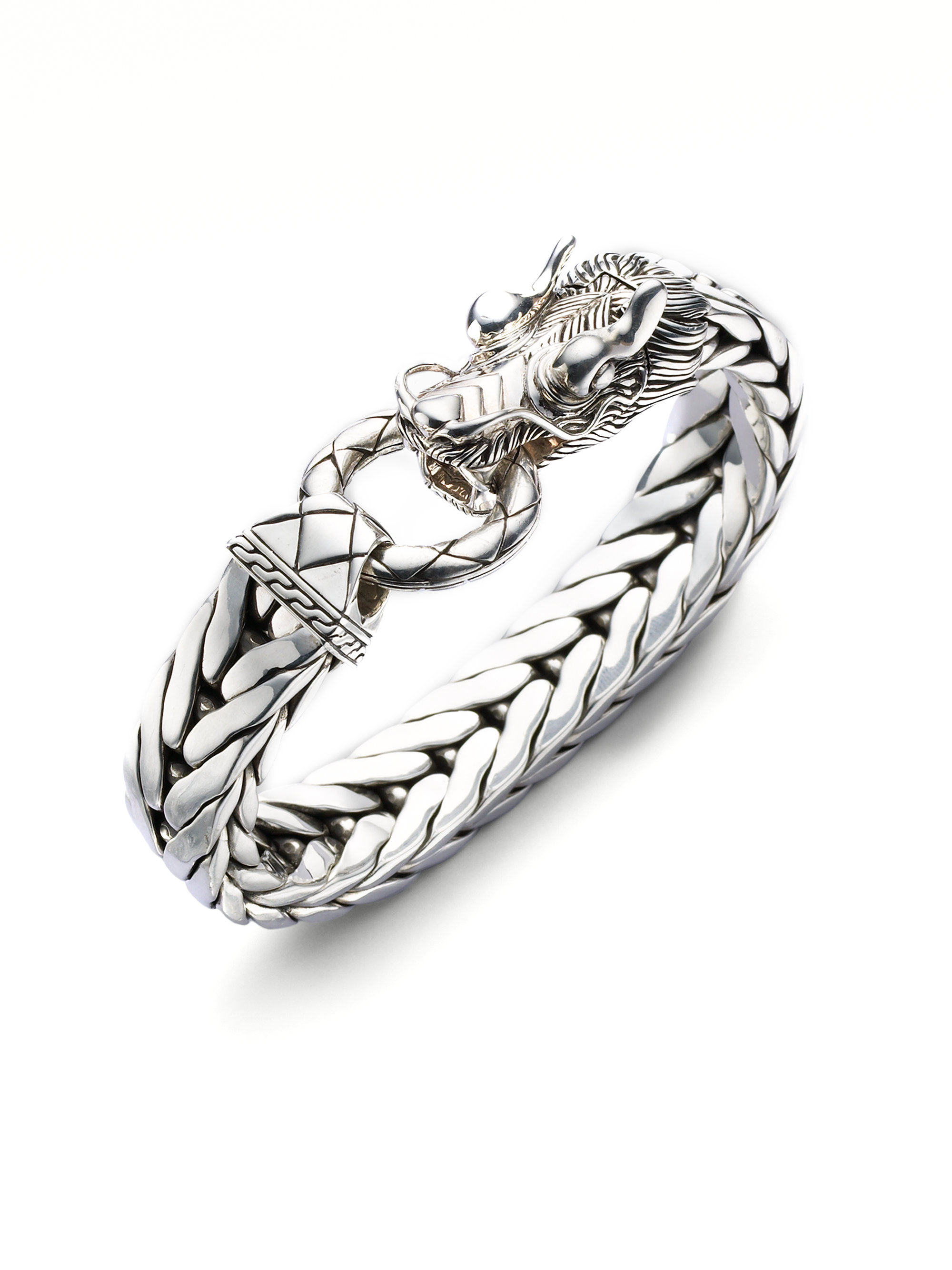 John Hardy Dragon Chain Silver Bracelet In Silver For Men