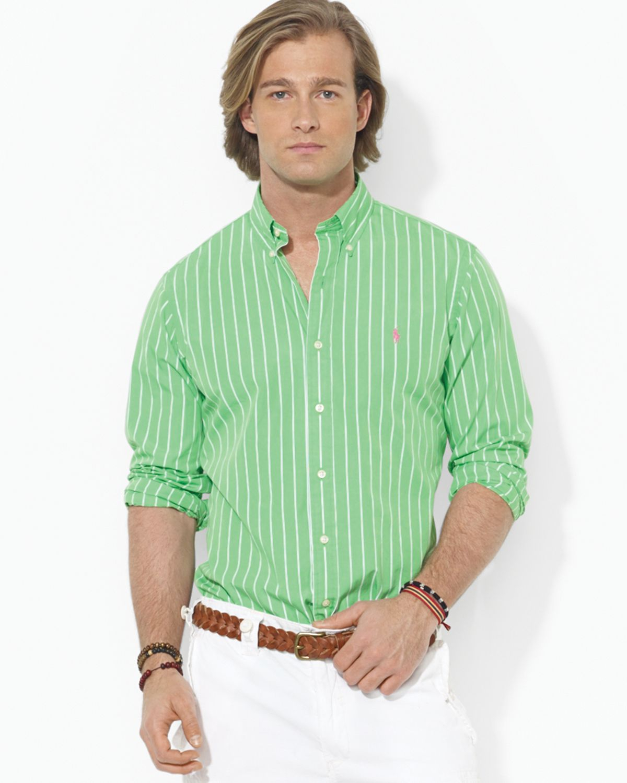 Ralph lauren polo striped poplin button down shirt slim for Striped button down shirts for men