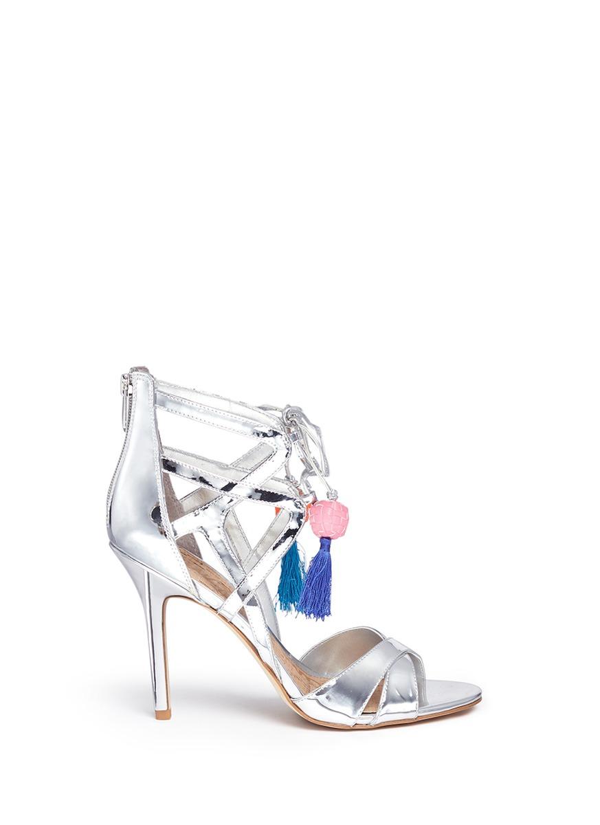 46ac59220 Lyst - Sam Edelman  azela  Pompom Tassel Mirror Sandals in White
