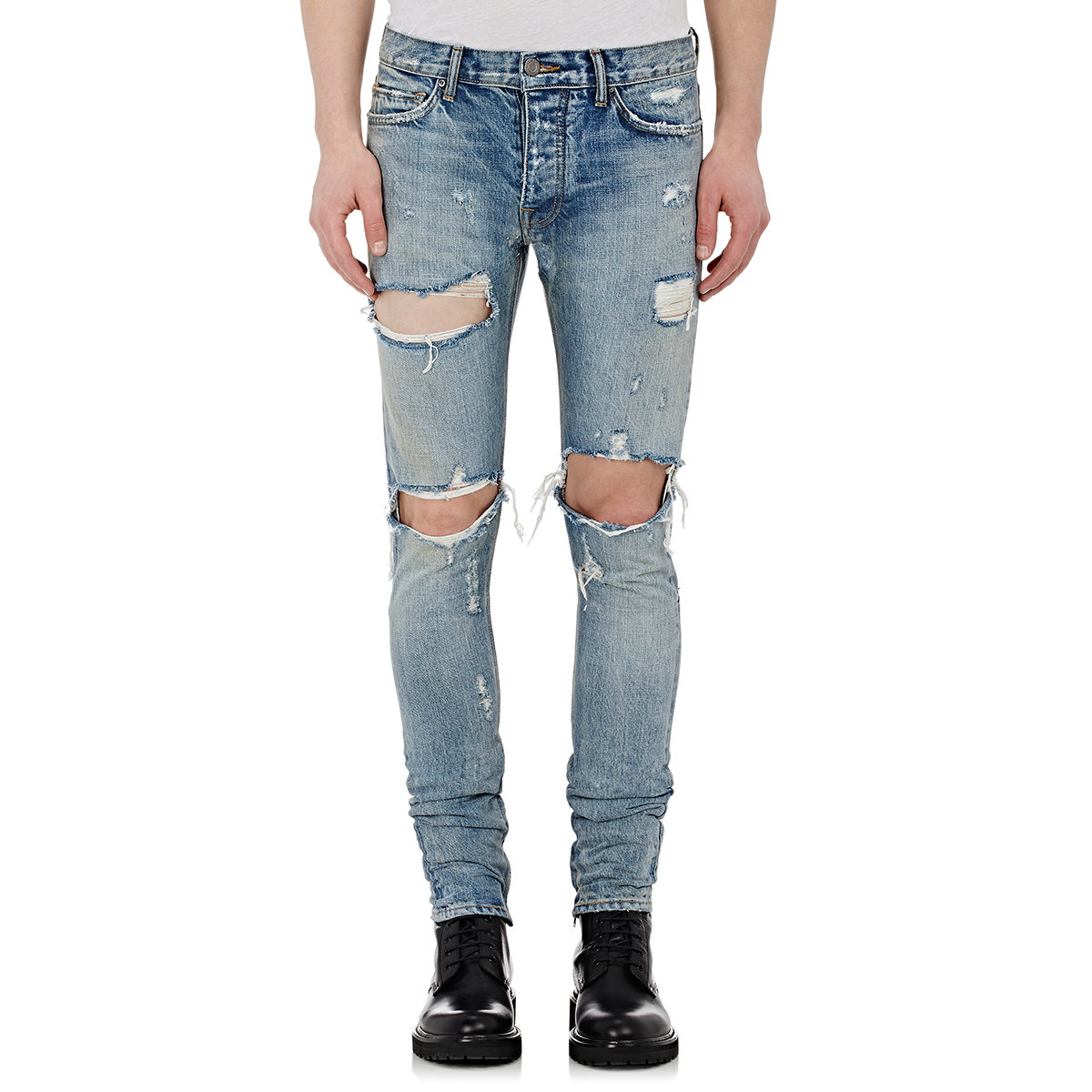 Fear of god Distressed Slim-Fit Jeans in Blue for Men | Lyst