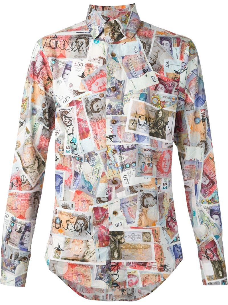 Vivienne westwood money print shirt for men lyst for How to make a shirt with money