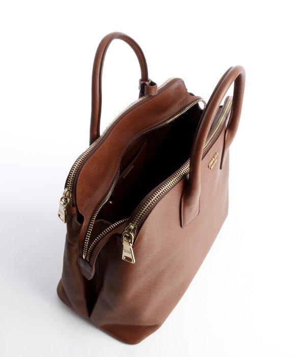 prada brown tote - Prada Rosewood Leather Triple Zip Top Handle Bag in Brown   Lyst
