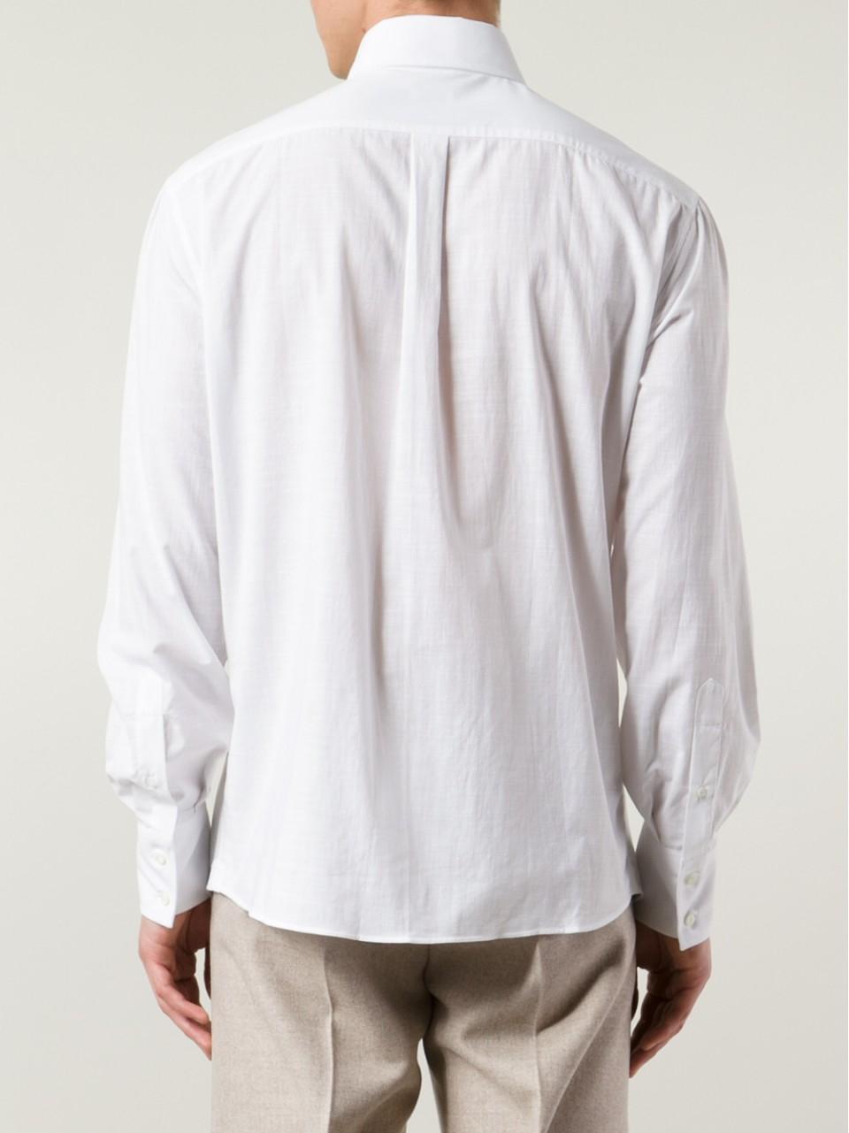 Brunello cucinelli oxford spread collar shirt in white for for What is a spread collar shirt