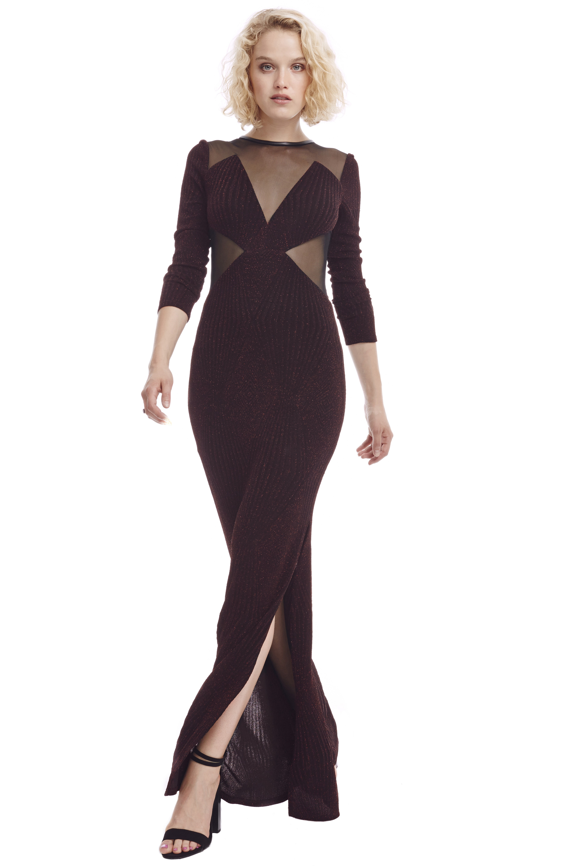Abs by allen schwartz Hailey Long Sleeve Gown in Black  Lyst