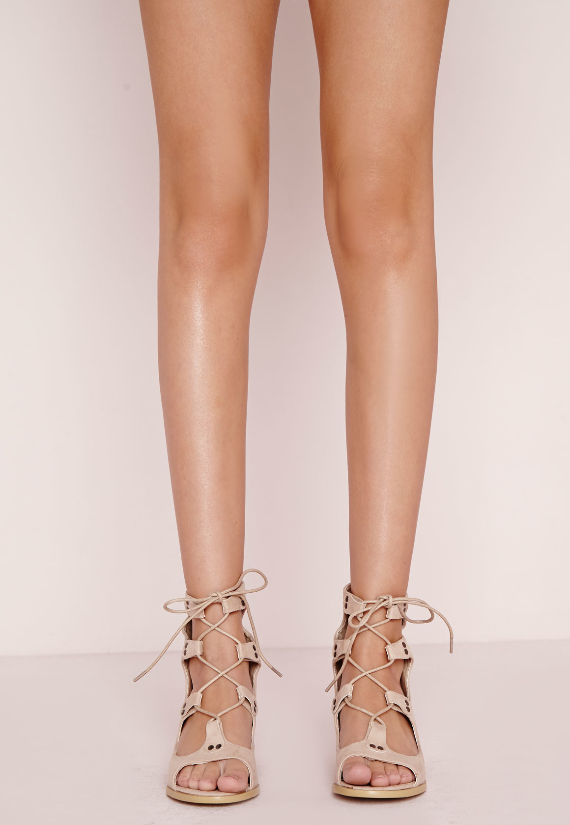Lyst - Missguided Block Heel Gladiator Sandals Cream in Natural
