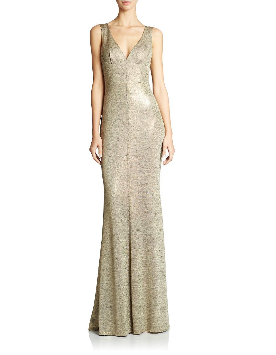 Lyst Abs By Allen Schwartz V Neck Metallic Gown In Metallic