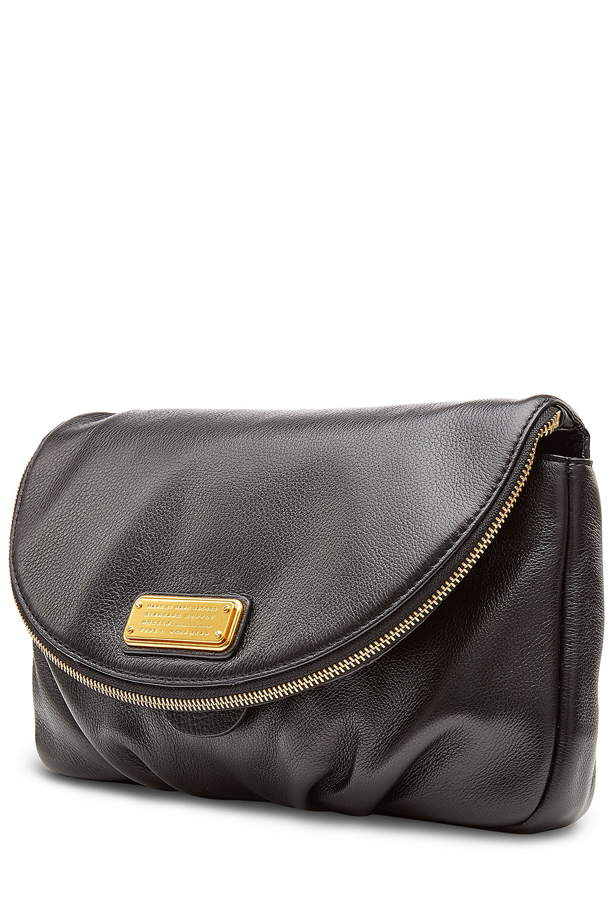 marc by marc jacobs new q leather clutch black in gold. Black Bedroom Furniture Sets. Home Design Ideas