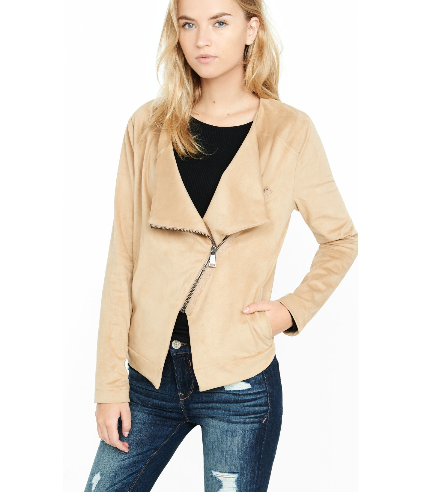 Lyst Express Faux Suede Asymmetrical Moto Jacket In Natural