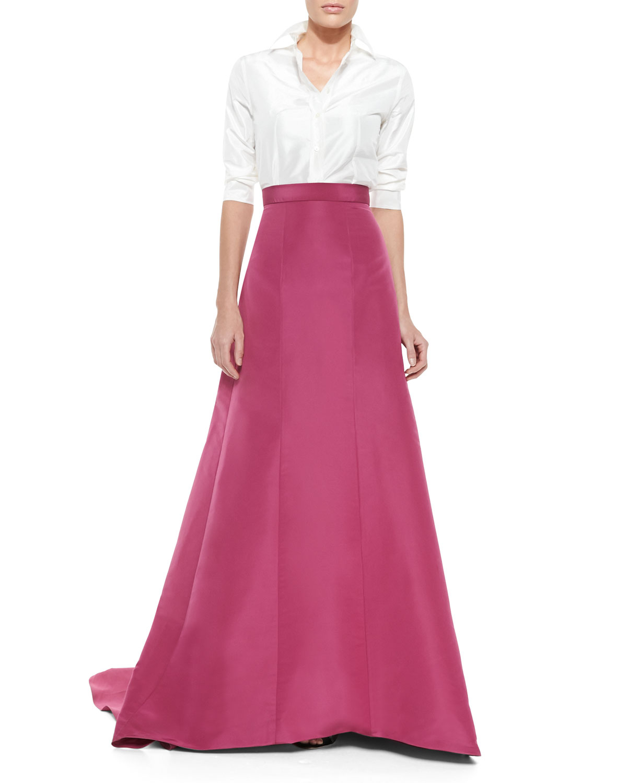 Lyst - Carolina Herrera Silk Faille Pleated-back Ball Skirt in Pink