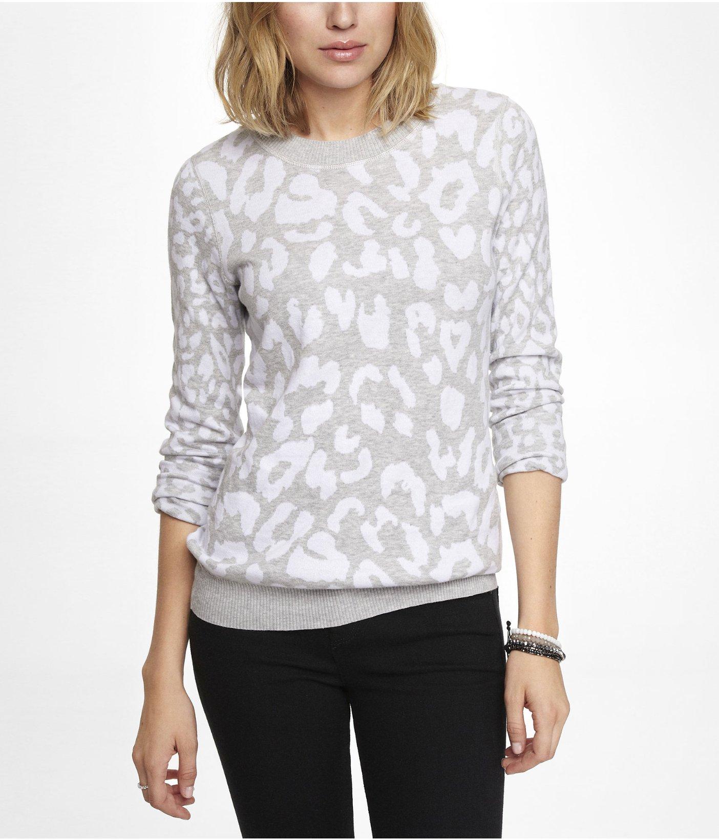 aae7155fd451 Express Reversible Leopard Jacquard Sweater in Gray - Lyst