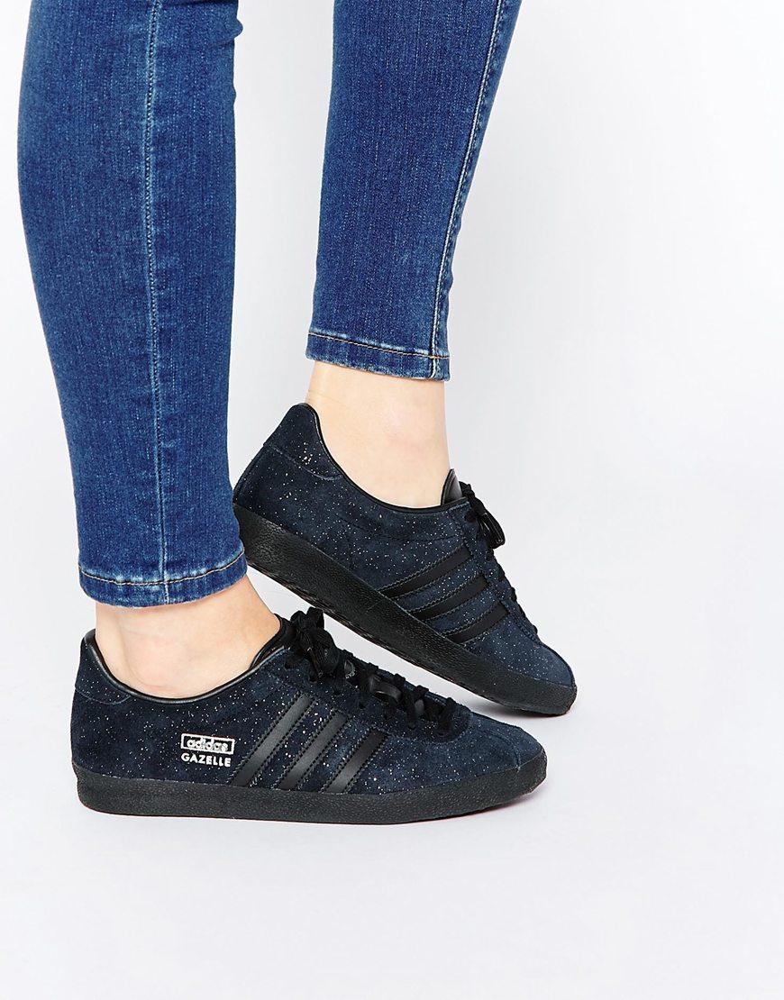 finest selection ed4ef 03112 adidas Originals Originals Glitter Suede Black Gazelle Og Trainers ...